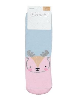 Шкарпетки рожево-блакитного кольору з принтом | 5548530