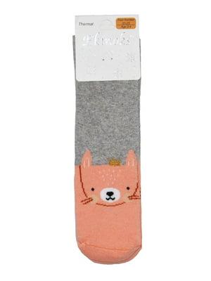 Шкарпетки сіро-коралового кольору з принтом | 5548531