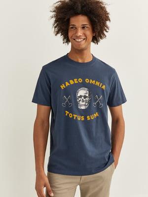 Футболка синя в принт | 5549089