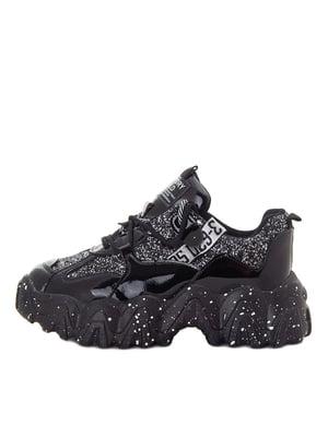 Кроссовки черные в принт-напыление | 5549033