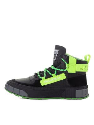 Кроссовки черно-салатового цвета | 5549066