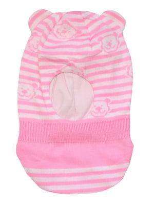 Шапка-шолом біло-рожева в смужку і принт | 5549132