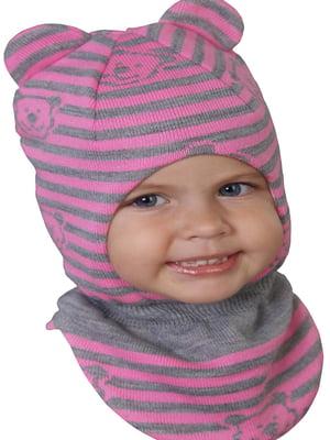 Шапка-шолом сіро-рожева в смужку і принт | 5549134