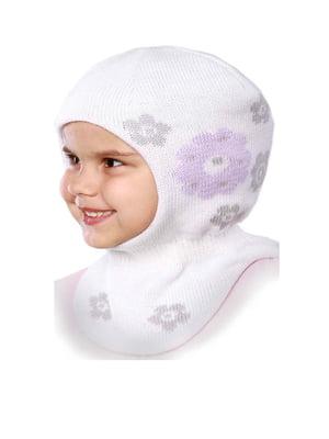Шапка-шолом біла в квітковий принт | 5549136