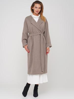 Пальто коричневе з візерунком | 5550981