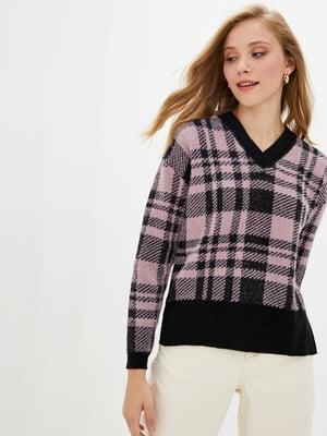 Пуловер черно-розовый в клетку | 5552600