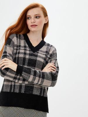 Пуловер черно-бежевый в клетку | 5552602