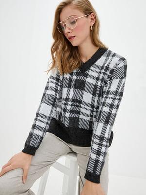 Пуловер серо-белый в клетку | 5552603