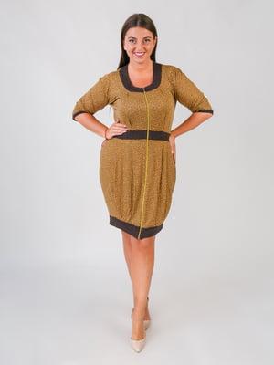 Сукня коричнева у принт | 5548904