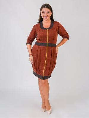 Сукня теракотового кольору у принт | 5548902