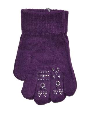 Рукавички фіолетові з малюнком | 5553234