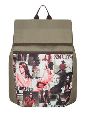 Рюкзак бежевый с принтом | 2854819
