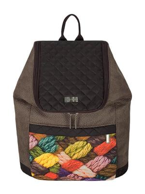 Рюкзак коричневый с принтом | 2854909