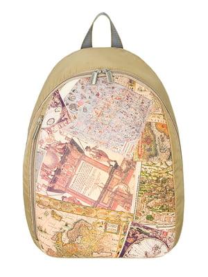 Рюкзак бежевый с принтом | 2913232