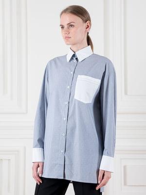 Сорочка синьо-біла з принтом | 5324723
