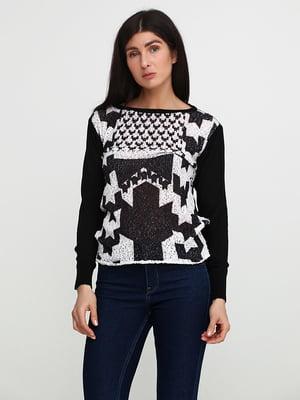 Джемпер чорно-білий з візерунком | 5559416