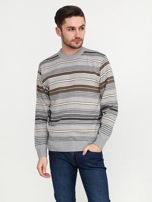 Джемпер сіро-коричневий в смужку | 5559473