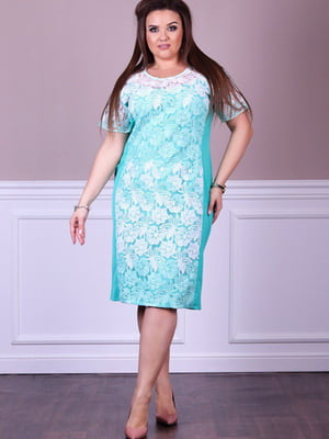 Платье бирюзовое с цветочным узором | 5560469