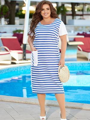 Платье бело-синее в полоску | 5560501