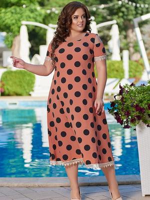Платье кирпичного цвета в горошек   5560514
