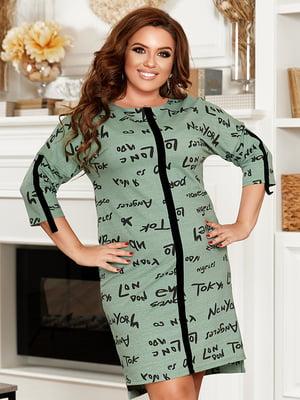 Сукня оливкового кольору в принт | 5560555