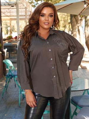 Рубашка цвета хаки с декором | 5560566