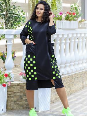 Платье черно-салатового цвета в клетку   5560576