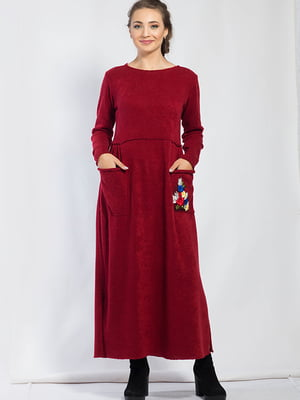 Сукня бордова з квітковою аплікацією   5561118