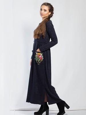 Платье темно-синее с цветочной аппликацией | 5561119