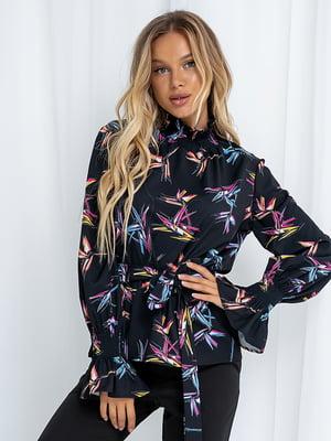 Блуза чорна у принт | 5561099