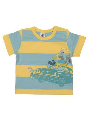 Футболка жовто-синя з принтом - Petit Bateau - 5558789