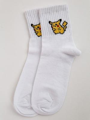 Шкарпетки білі з принтом | 5553654