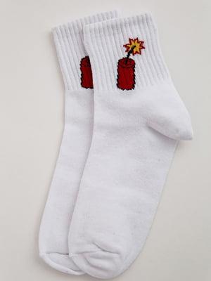 Носки белые с принтом | 5553655