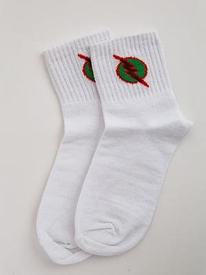 Носки белые с принтом | 5553656
