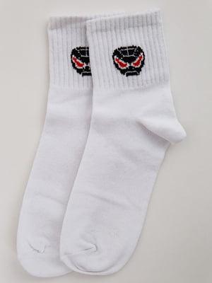 Носки белые с принтом | 5553675