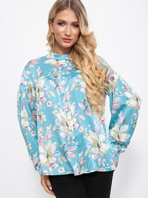Блуза голубая в принт | 5553692
