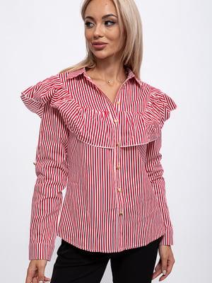 Рубашка красно-белая в полоску | 5553744
