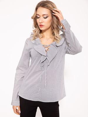 Блуза черно-белая в полоску | 5553972