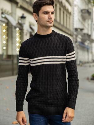 Джемпер черный с полосками | 5554016