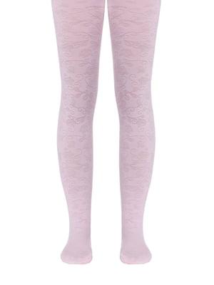 Колготки розового цвета с цветочным рисунком | 5357494