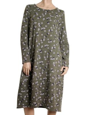 Платье цвета хаки в цветочный принт | 5561839
