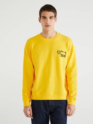 Свитшот желтый с принтом | 5540850