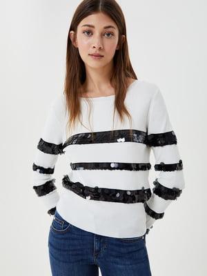 Джемпер белый с декором-полосами | 5561883