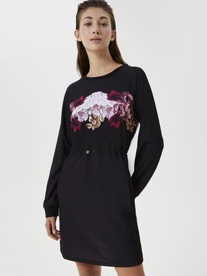 Сукня спортивна чорна в квітковий принт | 5561970