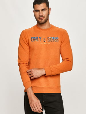 Свитшот оранжевый с принтом | 5562368