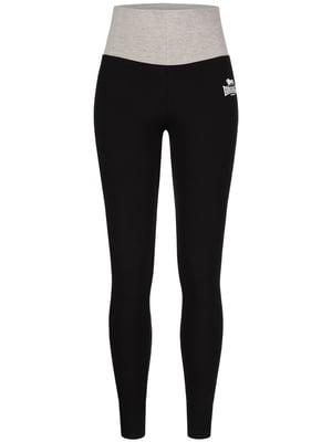 Брюки спортивные черно-серые с принтом | 5563396