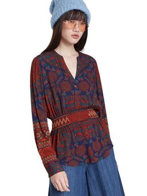 Блуза синьо-червона з квітковим принтом | 5547203