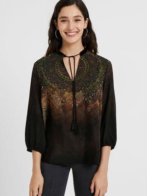 Блуза чорна з орнаментом | 5562464