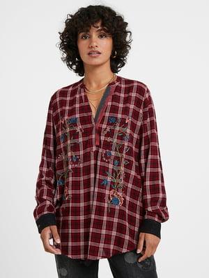 Блуза в клітинку і з квітковою вишивкою | 5562465