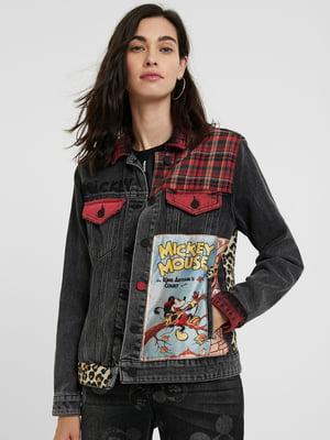 Куртка джинсовая серо-красная в клетку и принт | 5562466